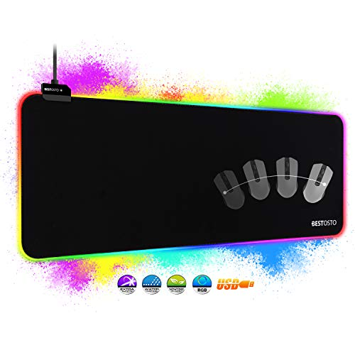 RGB Tappetino Mouse Gaming, RGB Tappetino Mouse XXL Tappetino Gaming 800x300mm ,14 LED Colori e Effetti di Luce…