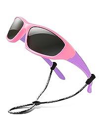 RIVBOS Rubber Kids Polarized Sunglasses for Boys Girlsand Children Age 3-10 RBK003