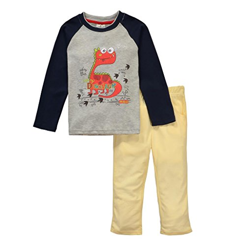 Boys Clothing Set Baby T-Shirt+Velvet Trousers Pajamas Set(2T/18-24Months, Gray)