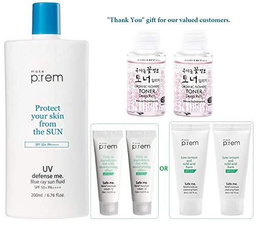 MAKEP:REM UV Defense Me Blue Ray Sun Fluid 200ml / 6.76 fl.oz. with Moisture Cream or Cleanser 20ml & Whamisa Organic Toner 40ml   SPF 50+ PA++++   Sunscreen for Face and Body by MAKEPREM MAKE P:REM
