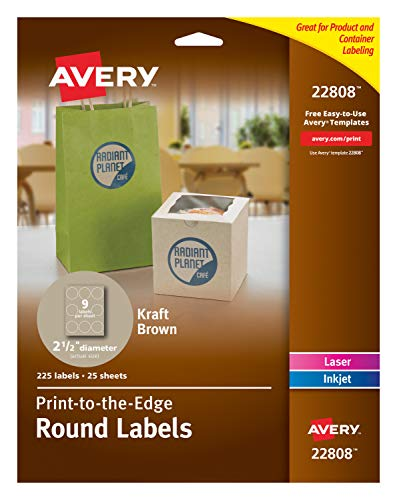 Printable Craft Templates - Avery Print-To-The-Edge Kraft Brown Round Gift Labels, 2-1/2 Inch, Pack of 225 (22808)