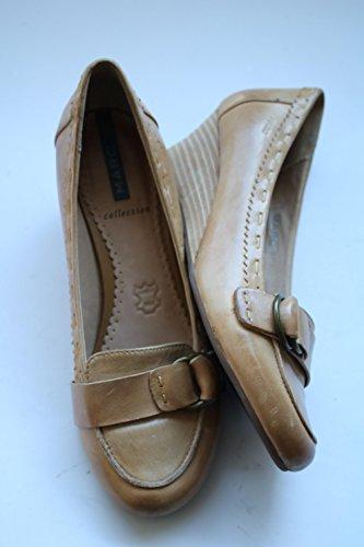 MARC Collection Damen Pumps Farbe: Hellbraun Gr. 39 Absatzhöhe: 5,5cm Material: Leder Schuhe mit Schnalle Schuhe