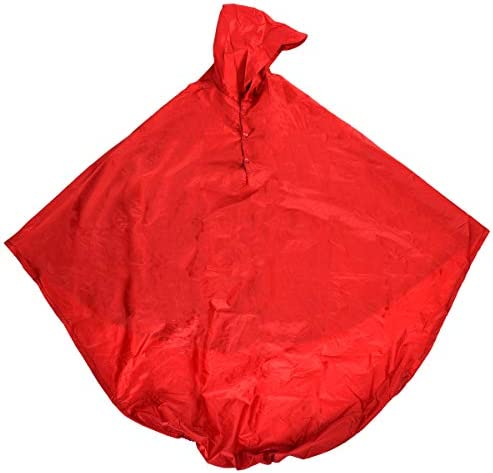 AdirMed Wheelchair Waterproof Poncho with Hood - Rain Protection Cape - Water & Tear Resistant Polyester Cover - Over Knee Coverage - Secure Neck Closure - One Size for Men & Women - Red