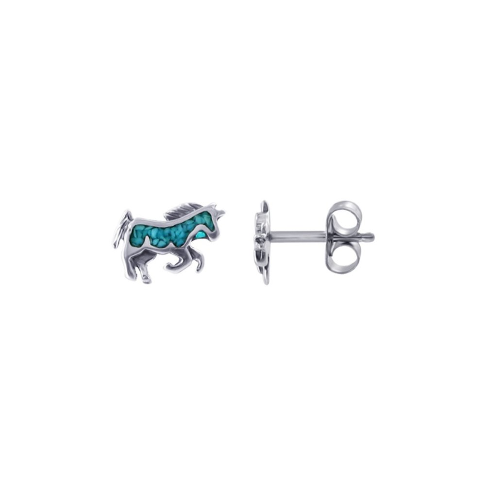 Gem Avenue 925 Sterling Silver Turquoise Southwestern Style Unicorn Post Back Earrings
