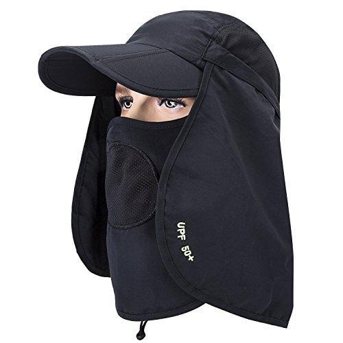 MerryJuly Unisex Sun Caps Flap Hats 360° Solar Protection UPF 50+ Sun Cap  Removable d2d1944e3206