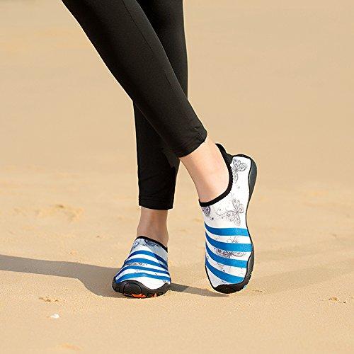 Poids Surf Nus Yoga Sport Plage Pour Chaussons Léger Pieds Blanc Aquatiques Homme Aquatique Natation Yooeen De Rapide Femme Enfant Séchage Chaussures Bleu 6FPwz