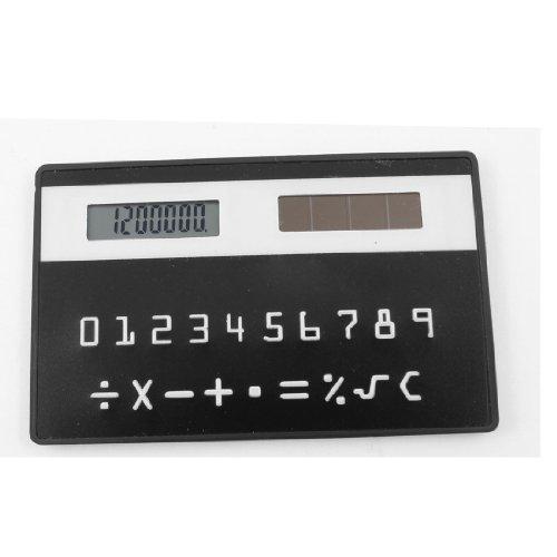 Portable Card Designed Black Mini Solar Power Pocket Calculator Calculating Tool