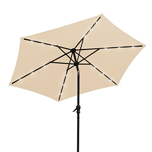 AOODA 9 ft LED Lighted Patio Umbrella LED Solar Power Table Market Umbrella, with Tilt Adjustment and Crank Lift System, Perfect for Outdoors, Patio, or any Parties (Beige) For Sale