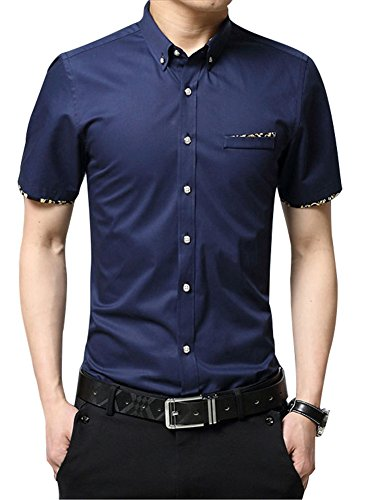 RubySports Casual Slim Fit Printed Short Sleeve Button Up Dress Shirt For Men's Navy 4X