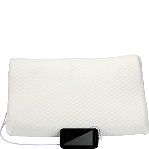 1 Voice Memory Foam Pillow with Built-in Speakers, White
