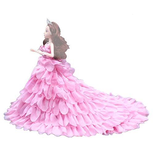Kangkangk Petal Style Fairy Girl Dolls Toys Wedding Party Dresses Gown Outfits Doll Accessories for Barbie Toys Children Girls Birthday Gift (Pink)