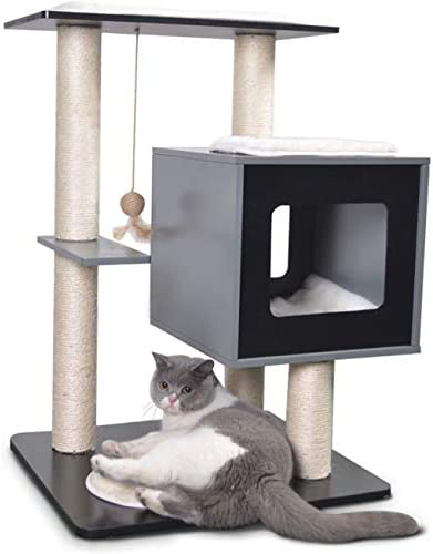 MORCOE Wooden Cat Playing Tree, Small Cat Activity Tower, Condo with Sisal Scratching Posts for Kitten Cat Furniture for Entertainment