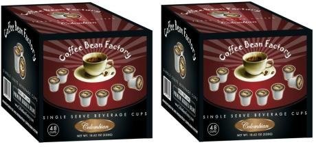 Coffee Bean Factory - 100% Colombian Fresh Roasted 96 Single Serve Coffee - Compatible with Keurig K Cup Brewers - Straight From our Micro Roaster For Home or Office. (Two Boxes 48 Each) (52 cents per single serve cup)