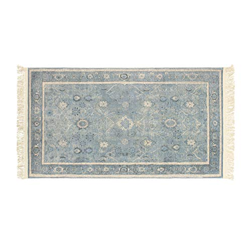 French Connection Versailles Vegetable Dyed Cotton Accent Rug 26 in. x 45 in. Blue