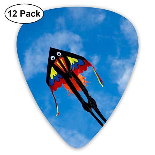 Pejer Premium Celluloid Guitar Picks, Colorful Kite in The Sky Guitar Picks Plectrums Acoustic Guitar Ukulele Picks 0.46 Mm, 0.73mm, 0.96 Mm,12 Pack - Kites High Sky