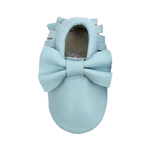 Sunward Prewalker Infant Sweet Bow Tassels Anti-skid Soft Leather Shoes Trainer (S(Suggest 0~6 month), Sky -