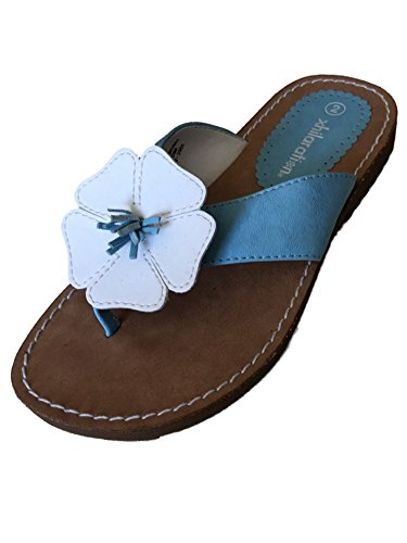 Xhilaration Girls Blue Flower Sandals Kathy Flip Flops Thongs Size 2 ()
