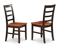 East West Furniture PFC-BLK-W Chair Set with Wood Seat, Black and cherry Finish, Set of 2