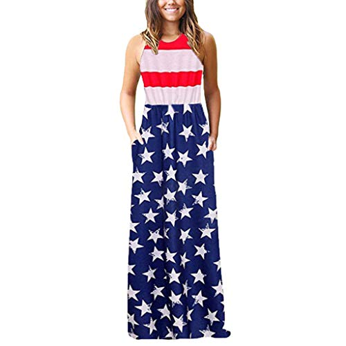 Women July 4th Dress American Flag Printed Sleeveless Maxi Tank Dress with Picket Vintage O Neck Patriotic Dress for Women Casual Summer Independance Day Dresses]()