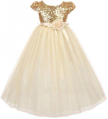 (Little Girls Dress Cap Sleeve Sequin Bodice Flower Pageant Party Flower Girl Dress Gold Size 6)