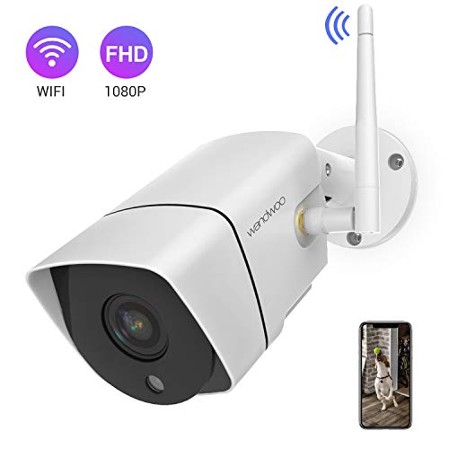(Security Camera Outdoor,Wandwoo 1080P Wireless WiFi IP Camera Support Motion Detection with Real-Time Alert,Waterproof,Night Vision,Outside Camera with SD Card & Cloud Storage- iOS,Android App)