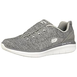 Skechers Women's Synergy 2.0-Scouted Wide Fashion Sneaker, Grey, 8.5 Big Kid