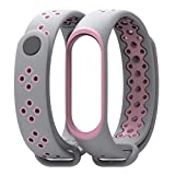 Easytoy Lightweight Silicone Replacement Ventilate Sports Soft Wrist Strap Wristband Xiaomi Mi Band 3, Adjustable Fitting Wristband Wraps (G)