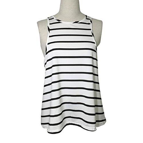 Culater Verano de las mujeres de la raya del chaleco de la camiseta sin mangas de la blusa ocasional Blanco