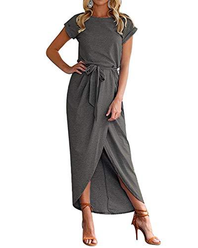 Qearal Women's 2019 Casual Dolman Sleeve Party Bodycon Sheath Belted Dress Dark Grey S
