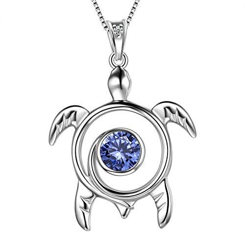 (Aurora Tears Blue Turtle Necklace Celtic Spiral 925 Sterling Silver Viking Swirls June-Alexandrite Sea Animal Birthstone Turtle Women Pendant Cute Jewelry DP0172U)
