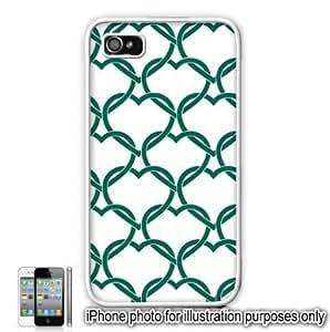 Green Interlocking Hearts Love Monogram Pattern Apple iPhone 4 4S Case Cover Skin White