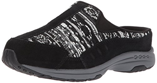 Easy Spirit Suede Clogs (Easy Spirit Women's Traveltim280 Mule, Black/Black Multi Suede, 8 M US)