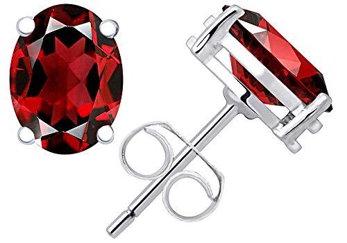 (1.1 Ct Red Garnet Gemstone Birthstone 925 Sterling Silver Stud Earrings Oval 6x4mm For Women)
