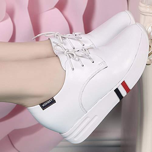 KOKQSX-Leder weiße Schuhe Innen Riemen Studenten Dicken Hintern 38 38 38 weiße 507fca