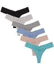 UWOCEKA Women Thongs Cotton, 6 Pack Variety Thong Lace Trim Undies Panties Tanga