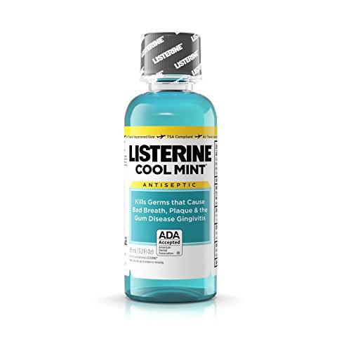 Listerine Cool Mint Antiseptic Mouthwash for Bad Breath, Plaque and Gingivitis, Travel Size, 3.2 oz (Pack of 12)