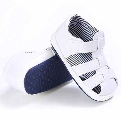 BOBORA Bebe Ninos Verano Zapatos PU Suave Hueco Sandalias Para 0-18 M blanco