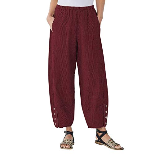 Sunhusing Women's Solid Color Pocket Button Elastic Waist Loose Pants Casual Large Size Lantern Trousers Red