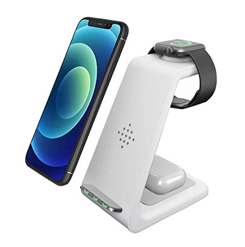 Wireless Charger, 3 in 1 Qi-Certified Fast Wireless Charging Station Charger Stand Dock for iPhone 12/11/11pro/11pro Max/X/XS/XR/Xs Max/8/8 Plus, Apple Watch Series 6/5/4/3/2, AirPods 2/Pro, Samsung