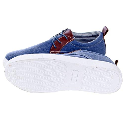 Reslad Sneaker Herren Schuhe Exklusiv Schnürer Denim Jeans Look RS-88602 Hellblau