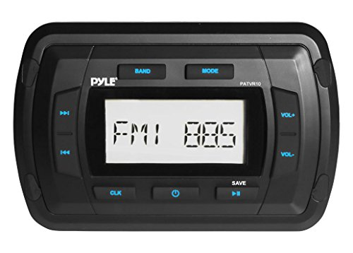Marine Bluetooth Radio Stereo Receiver - 4x50 Watt Water Resistant Universal Stereo Head Unit w/AUX, RCA, USB Port, AM FM Radio, Digital LCD Display, for Boat, Car, Off-Road Vehicles - Pyle PATVR10