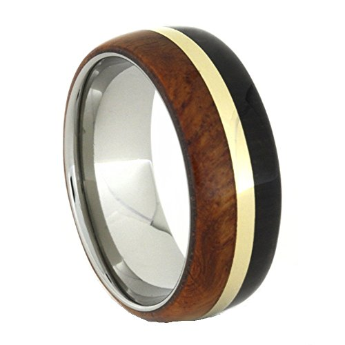 African Blackwood, Amboyna Wood, 14k Yellow Gold 8mm Comfort-Fit Titanium Ring, Size 6.25 by The Men's Jewelry Store (Unisex Jewelry)