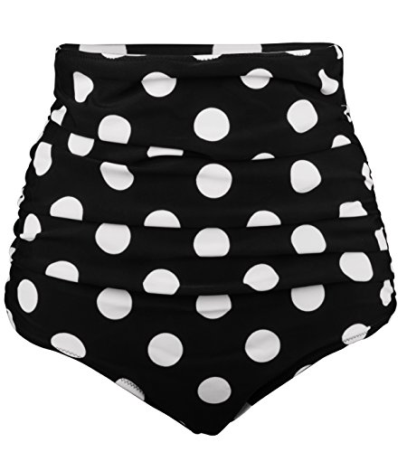 - Angerella Women Solid Bikini Bottom Mini Short Swimwear,Black(dot),US 6-8=Tag Size L
