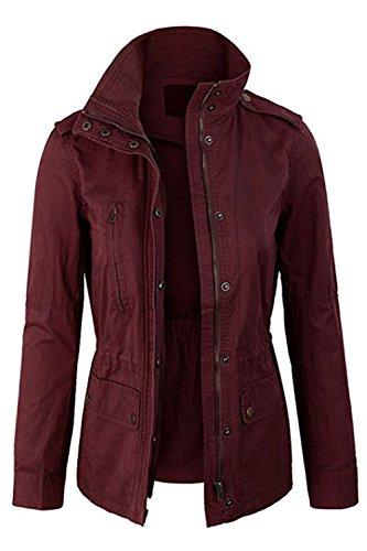 FASHION BOOMY Womens Zip Up Military Anorak Jacket W/Hood (Medium, L-Wine)