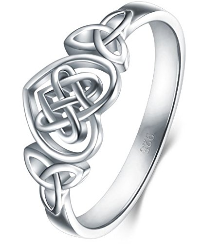 Ring Celtic Jewelry (BORUO 925 Sterling Silver Ring Celtic Knot Heart High Polish Tarnish Resistant Eternity Wedding Band Stackable Ring Size 4)