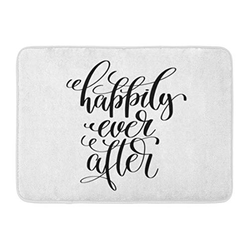 Doormats Bath Rugs Outdoor/Indoor Door Mat Happily Ever After Black and White Hand Lettering Script to Wedding Holiday Celebration Marriage Phrase Bathroom Decor Non-Slip Rug 16