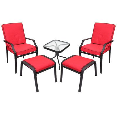 Sonoma Outdoor Furniture (Jordan 3K-BISTC2 SL 5-Piece Sonoma Chat Set with Red Cushions)