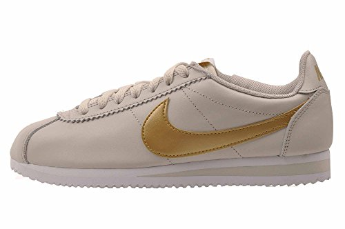 Nike Classic Cortez Leather Womens Casual Shoes Fashion Sneakers, Light Bone Size 10 US