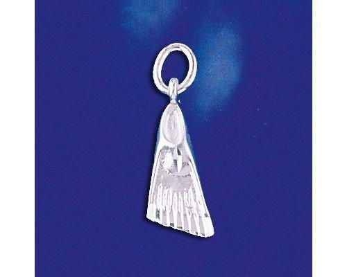 - Sterling Silver Flipper Pendant Scuba Swim Fin Charm Solid 925 Silver New - Silver Jewelry Accessories Key Chain Bracelet Necklace Pendants