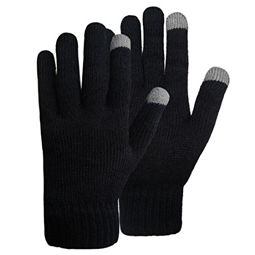LETHMIK Black Magic Knit Gloves Unisex Winter Wool Lined with 2 Touchscreen Fingers